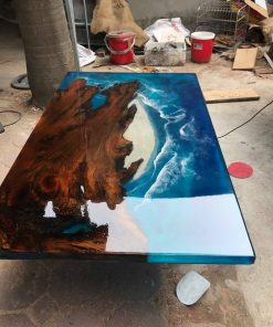 Blue Epoxy River Ocean Table - Woodify