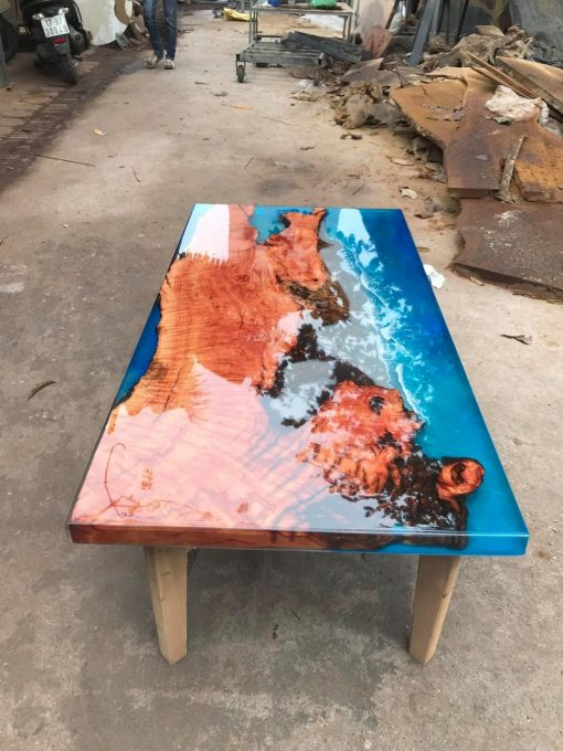 Coffee Table Epoxy River Handmade - Woodify