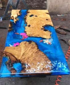 Epoxy Resin Burl Coffee Table With Custom 3D Fish