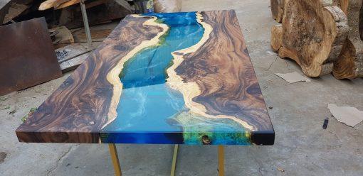 Blue Epoxy River Coffee Table