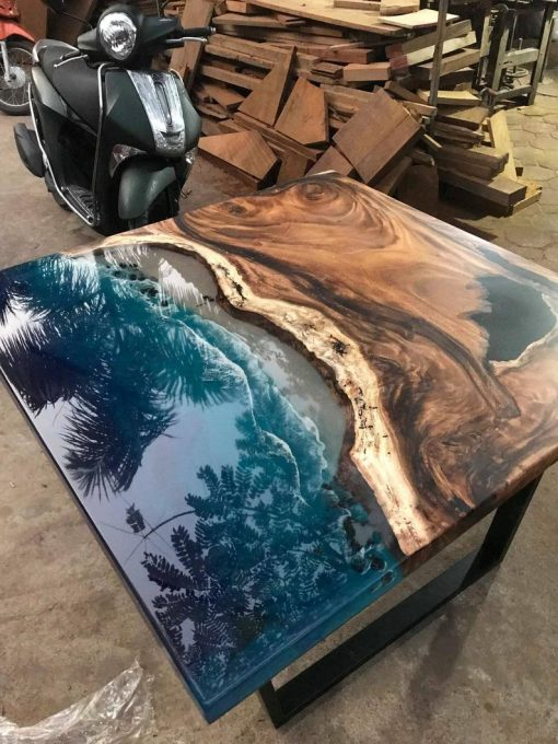 Epoxy River Square Walnut Coffee Table Woodify - 2