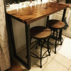 Industrial High Bar Tables Walnut - Woodify