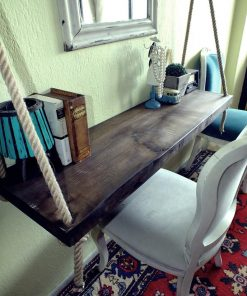 Unique Wall Mounted Black Walnut Hanging Desk - Woodify 5
