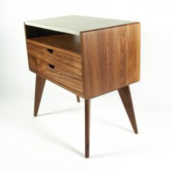 Aby - Solid Wood & Concrete Top Mid-Century Nightstand - Woodify 1 3
