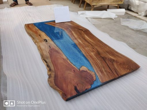 Acacia Blue Epoxy River Live Edge 72 by 32 - Woodify