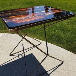 Burned Wood Steel Table - Woodify 1