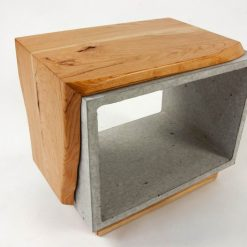 Concrete & Live Edge Solid Cherry Wood Side Table - Woodify