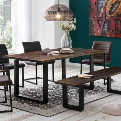 Dark Walnut Acacia Live Edge Dining Room Table - Woodify