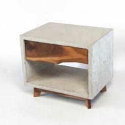 Dwarf Concrete Cube & Solid Walnut Drawer Nightstand - Woodify