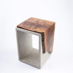Live Edge Black Walnut & Concrete Side Table or Stool - Woodify