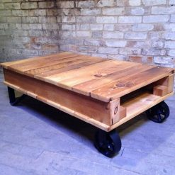 Pine Pallet Cart Coffee Table with Caster Wheels - Woodify