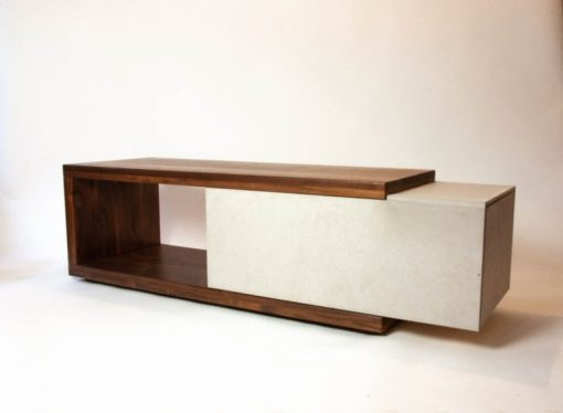 Walnut Wood & Concrete Coffee Table or TV Stand with Hidden Drawer - Woodify