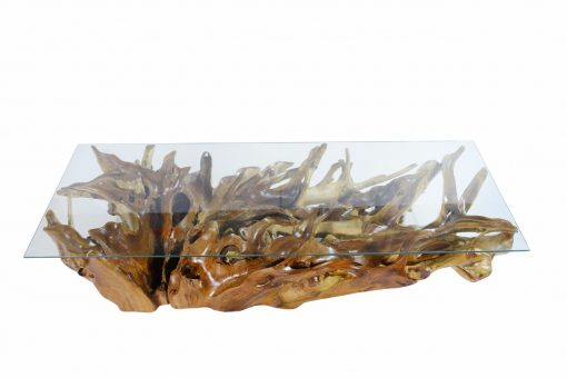 Teak Root Coffee Table Glass Top - Woodify Canada