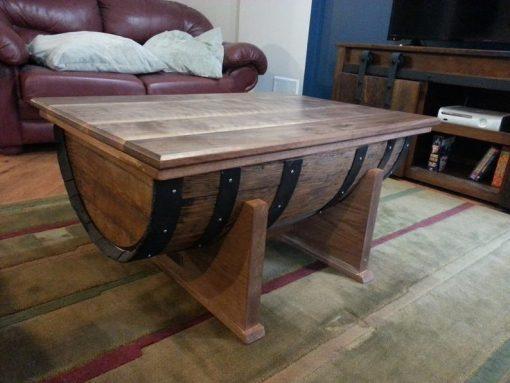 Custom Made Wine Barrel Coffee Table - Woodify Canada