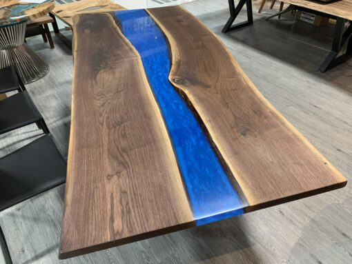 8.5ft Live Edge Walnut Epoxy River Table Blue - Woodify Canada
