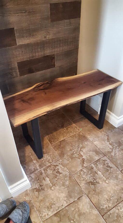 Custom Made Walnut Bench U-Shape Legs - Woodify Canada