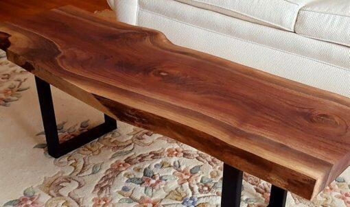 Live Edge Walnut Coffee Table U-shaped legs - Woodify Canada