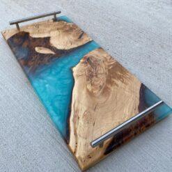 Turquoise Epoxy Charcuterie Board with Handles - Woodify Canada