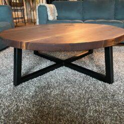 4ft Round Black Walnut Coffee Table - Woodify Canada