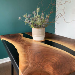 Black Epoxy River Live Edge Dining Table - Woodify Canada