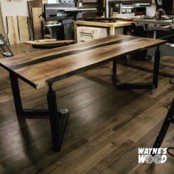 zIndustrial Black Epoxy Walnut Dining Table - Woodify Canada