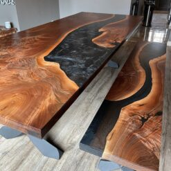 Epoxy Resin Black Dining Table with Bench - Woodify Canada
