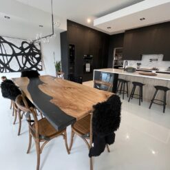 Fonthill Black Epoxy River DIning Table - Woodify Canada