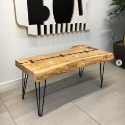 Live edge Manitoba maple coffee table with butterfly joints - Woodify Canada