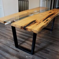 Oak live edge river dining table with glass inlay - Woodify Canada