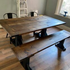 Pine Stained Kitchen Table with Bench - Woodify Canada