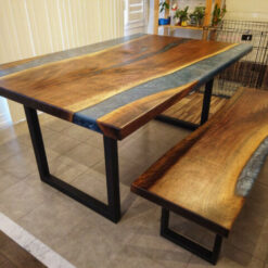 Epoxy River Table with Bench - Woodify Canada