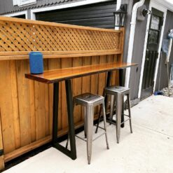 Outdoor Black Walnut live edge bar height table 4 - Woodify Canada