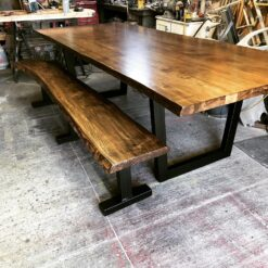 Solid ambrosia live edge maple table with custom steel fabricated legs - Woodify Canada