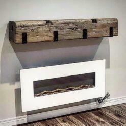 authentic Barn Beam Mantle with custom fabricated Steel brackets - woodify Canada