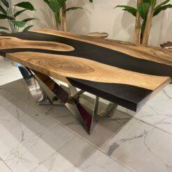 Black Epoxy Walnut Table Chrome Legs - Woodify USA