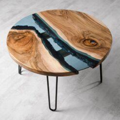 Glass Live Edge River Coffee Table Walnut 1- Woodify