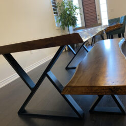 """8' x 42"""" live edge 2"""" thick ambrosia maple table with matching live edge bench - Woodify Canada 1"""