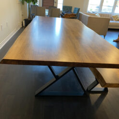 """8' x 42"""" live edge 2"""" thick ambrosia maple table with matching live edge bench - Woodify Canada"""